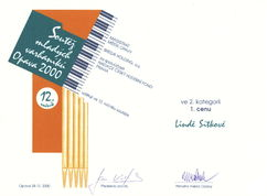 Diploma for 1st prize in the competition of Linda Sítková, Opava 2000
